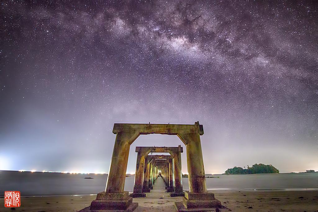 Milkyway above unfinished bridge, Malaysia